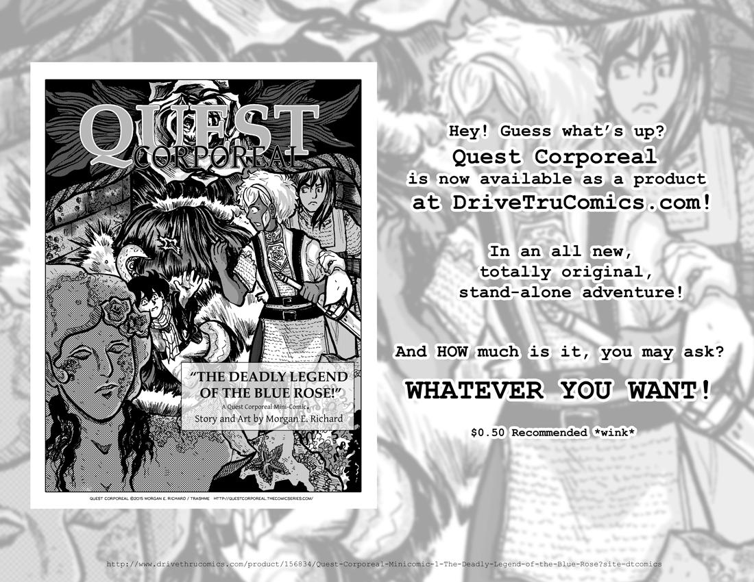 Advertisement for Quest Corporeal Mini-Comic#1